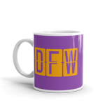 RWY23 - DFW Dallas-Fort Worth, Texas Airport Code Coffee Mug - Birthday Gift, Christmas Gift - Orange and Purple - Left