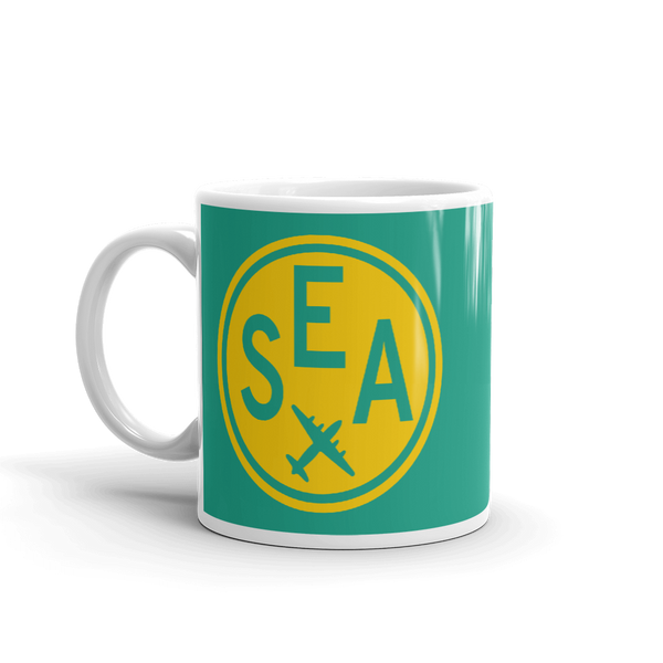 RWY23 - SEA Seattle, Washington Airport Code Coffee Mug - Birthday Gift, Christmas Gift - Yellow and Green-Aqua - Left