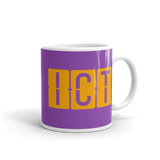 RWY23 - ICT Wichita, Kansas Airport Code Coffee Mug - Graduation Gift, Housewarming Gift - Orange and Purple - Right