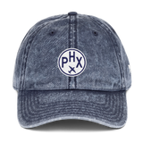 RWY23 - PHX Phoenix Cotton Twill Cap - Airport Code and Vintage Roundel Design - Navy Blue - Front - Student Gift