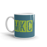 RWY23 - MKC Kansas City, Missouri Airport Code Coffee Mug - Birthday Gift, Christmas Gift - Green and Teal - Left