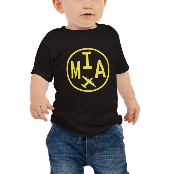 RWY23 - MIA Miami T-Shirt - Airport Code and Vintage Roundel Design - Baby - Black - Gift for Child or Children