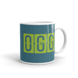 RWY23 - OGG Maui, Hawaii Airport Code Coffee Mug - Graduation Gift, Housewarming Gift - Green and Teal - Right