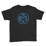 RWY23 - BOS Boston T-Shirt - Airport Code and Vintage Roundel Design - Youth - Black - Gift for Grandchild