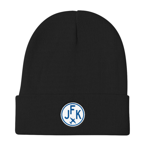 RWY23 - JFK New York Winter Hat - Embroidered Airport Code and Vintage Roundel Design - Black - Christmas Gift