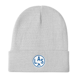 RWY23 - LAS Las Vegas Winter Hat - Embroidered Airport Code and Vintage Roundel Design - White - Aviation Gift