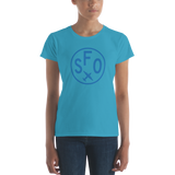 RWY23 - SFO San Francisco T-Shirt - Airport Code and Vintage Roundel Design - Women's - Caribbean blue - Gift for Mom