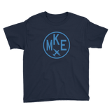 RWY23 - MKE Milwaukee T-Shirt - Airport Code and Vintage Roundel Design - Youth - Navy Blue - Gift for Grandchildren