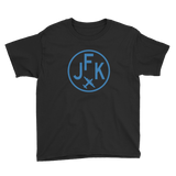 RWY23 - JFK New York T-Shirt - Airport Code and Vintage Roundel Design - Youth - Black - Gift for Grandchild