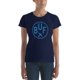 RWY23 - BUF Buffalo T-Shirt - Airport Code and Vintage Roundel Design - Women's - Navy Blue - Gift for Wife
