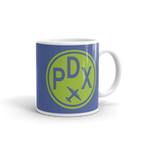 RWY23 - PDX Portland, Oregon Airport Code Coffee Mug - Graduation Gift, Housewarming Gift - Green and Blue - Right