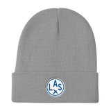 RWY23 - LAS Las Vegas Winter Hat - Embroidered Airport Code and Vintage Roundel Design - Gray - Birthday Gift