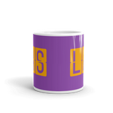 RWY23 - LAS Las Vegas, Nevada Airport Code Coffee Mug - Teacher Gift, Airbnb Decor - Orange and Purple - Side