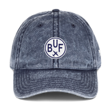 RWY23 - BUF Buffalo Cotton Twill Cap - Airport Code and Vintage Roundel Design - Navy Blue - Front - Student Gift