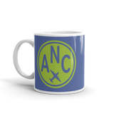 RWY23 - ANC Anchorage, Alaska Airport Code Coffee Mug - Birthday Gift, Christmas Gift - Green and Blue - Left