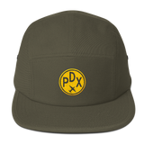 RWY23 - PDX Portland Camper Hat - Airport Code and Vintage Roundel Design -Olive Green - Aviation Gift