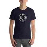 RWY23 - SFO San Francisco T-Shirt - Airport Code and Vintage Roundel Design - Adult - Navy Blue - Birthday Gift