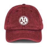 RWY23 - ATL Atlanta Cotton Twill Cap - Airport Code and Vintage Roundel Design - Maroon - Front - Aviation Gift