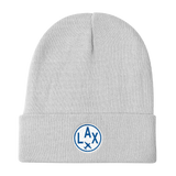 RWY23 - LAX Los Angeles Winter Hat - Embroidered Airport Code and Vintage Roundel Design - White - Aviation Gift