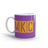 RWY23 - MKC Kansas City, Missouri Airport Code Coffee Mug - Birthday Gift, Christmas Gift - Orange and Purple - Left