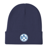 RWY23 - BNA Nashville Winter Hat - Embroidered Airport Code and Vintage Roundel Design - Navy Blue - Travel Gift
