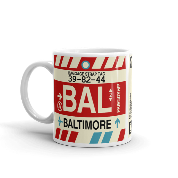 RWY23 - BAL Baltimore Airport Code Coffee Mug - Birthday Gift, Christmas Gift - Left