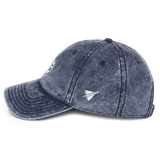 RWY23 - DAL Dallas Cotton Twill Cap - Airport Code and Vintage Roundel Design - Navy Blue - Left Side - Travel Gift
