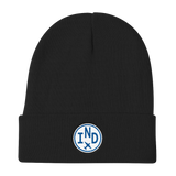 RWY23 - IND Indianapolis Winter Hat - Embroidered Airport Code and Vintage Roundel Design - Black - Christmas Gift
