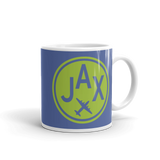 RWY23 - JAX Jacksonville, Florida Airport Code Coffee Mug - Graduation Gift, Housewarming Gift - Green and Blue - Right