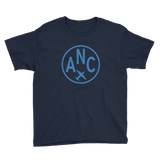RWY23 - ANC Anchorage T-Shirt - Airport Code and Vintage Roundel Design - Youth - Navy Blue - Gift for Grandchildren