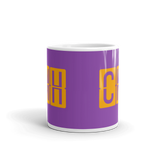 RWY23 - CMH Columbus, Ohio Airport Code Coffee Mug - Teacher Gift, Airbnb Decor - Orange and Purple - Side
