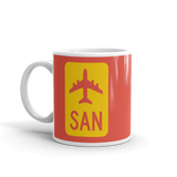 RWY23 - SAN San Diego Airport Code Jetliner Coffee Mug - Birthday Gift, Christmas Gift - Red and Yellow - Left