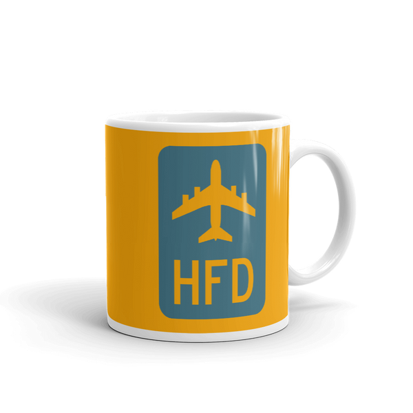 RWY23 - HFD Hartford Airport Code Jetliner Coffee Mug - Graduation Gift, Housewarming Gift - Blue and Orange - Right