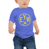 RWY23 - EYW Key West T-Shirt - Airport Code and Vintage Roundel Design - Baby - Blue - Gift for Grandchild or Grandchildren