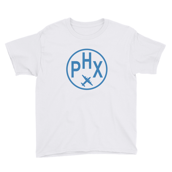 RWY23 - PHX Phoenix T-Shirt - Airport Code and Vintage Roundel Design - Youth - White - Gift for Child or Children