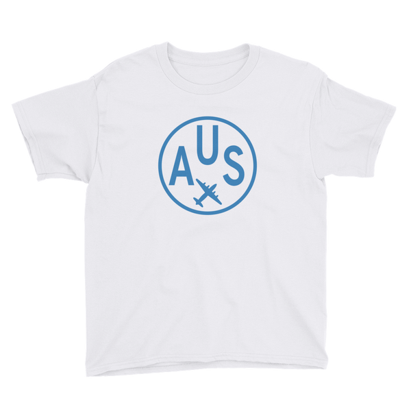 RWY23 - AUS Austin T-Shirt - Airport Code and Vintage Roundel Design - Youth - White - Gift for Child or Children