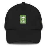 RWY23 - PHL Philadelphia Retro Jetliner Airport Code Dad Hat - Black - Front - Christmas Gift
