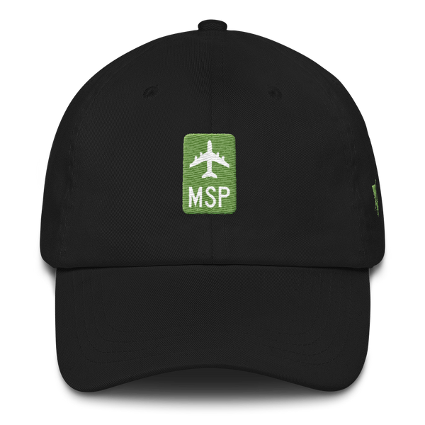 RWY23 - MSP Minneapolis-St. Paul Retro Jetliner Airport Code Dad Hat - Black - Front - Christmas Gift