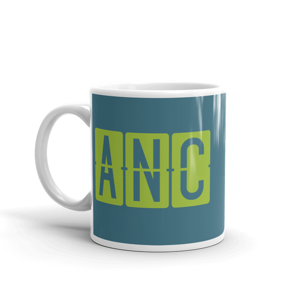 RWY23 - ANC Anchorage, Alaska Airport Code Coffee Mug - Birthday Gift, Christmas Gift - Green and Teal - Left