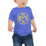 RWY23 - BOS Boston T-Shirt - Airport Code and Vintage Roundel Design - Baby - Blue - Gift for Grandchild or Grandchildren