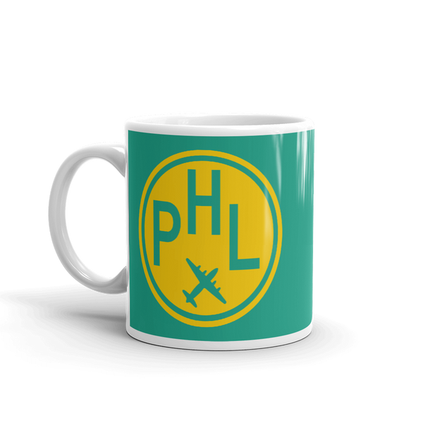 RWY23 - PHL Philadelphia, Pennsylvania Airport Code Coffee Mug - Birthday Gift, Christmas Gift - Yellow and Green-Aqua - Left