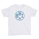 RWY23 - BWI Baltimore-Washington T-Shirt - Airport Code and Vintage Roundel Design - Youth - White - Gift for Child or Children