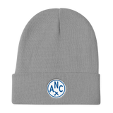 RWY23 - ANC Anchorage Winter Hat - Embroidered Airport Code and Vintage Roundel Design - Gray - Birthday Gift