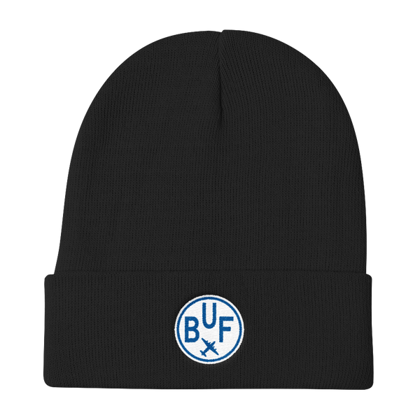 RWY23 - BUF Buffalo Winter Hat - Embroidered Airport Code and Vintage Roundel Design - Black - Christmas Gift