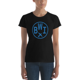 RWY23 - BWI Baltimore-Washington T-Shirt - Airport Code and Vintage Roundel Design - Women's - Black - Gift for Girlfriend