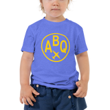 RWY23 - ABQ Albuquerque T-Shirt - Airport Code and Vintage Roundel Design - Toddler - Blue - Gift for Child or Children