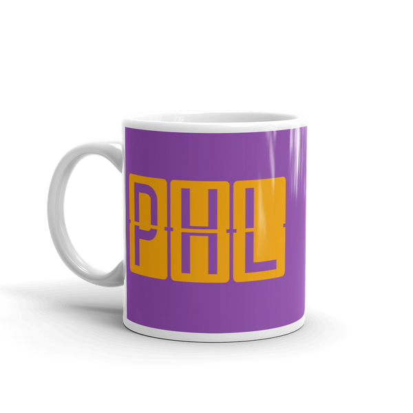 RWY23 - PHL Philadelphia, Pennsylvania Airport Code Coffee Mug - Birthday Gift, Christmas Gift - Orange and Purple - Left