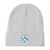 RWY23 - SAN San Diego Winter Hat - Embroidered Airport Code and Vintage Roundel Design - White - Aviation Gift