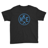 RWY23 - MKE Milwaukee T-Shirt - Airport Code and Vintage Roundel Design - Youth - Black - Gift for Grandchild