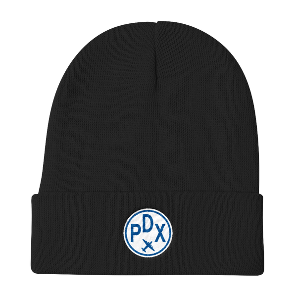 RWY23 - PDX Portland Winter Hat - Embroidered Airport Code and Vintage Roundel Design - Black - Christmas Gift